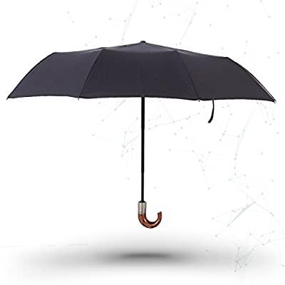 Travel Umbrella, VANTAKOOL Auto Open & Close One Handed Operation Foldable Travel Umbrella with Hook for Easy Carrying and Durable (Wood grain)