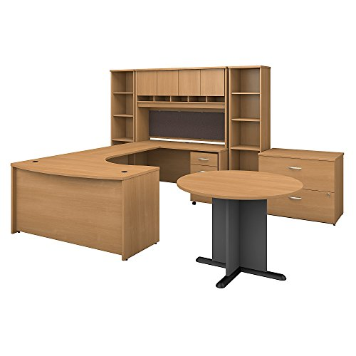 (Bush Business Furniture Series C 60W Right Handed Bow Front U Shaped Desk with Storage and Conference Table in Light Oak)