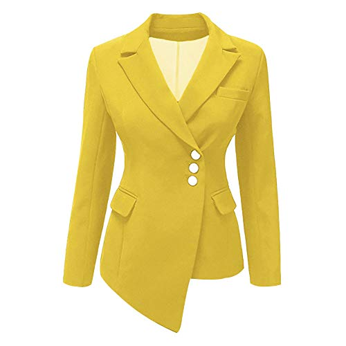 - Women's Three Button Solid Color Notch Lapel Work Office Blazer Jacket Suit Yellow