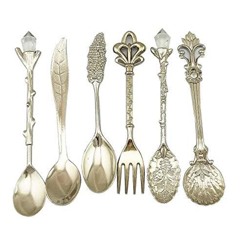 - Leoie Nostalgic Vintage Royal Style Metal Carved Coffee Spoons and Fork for Sweet Snacks 6pcs/Set