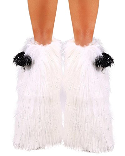 [iHeartRaves Fluffy Leg Warmers - Rave GoGo Fluffies (Sparkle White)] (Furry Rave Boots)