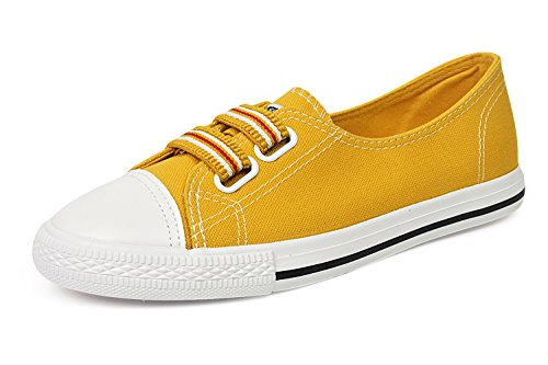 Women's Classic Canvas Slip-On Shoes Walking Flats 4Colors (5.5 B(M) US, 318-Yellow)