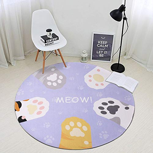 - Cat Claws Printed Round Carpets for Living Room Computer Chair Rug Kids Play Tent Floor Mat Cloakroom Rug