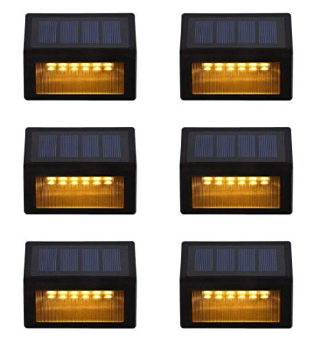Solar Step Lights ,LED Solar Powered Step Lights Wireless Waterproof Outdoor Security Lamps Lighting for Steps Stairs Paths Patio Decks(Pack 6,Warm Yellow Light) (6 Pack)