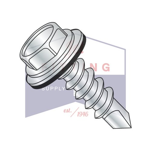 """#10 x 3"""" Self-Drilling Screws/Unslotted/Hex Washer Head/Steel/Zinc/Bonded Neoprene Washer / #3 Drill Point (Quantity: 1,000 pcs)"""