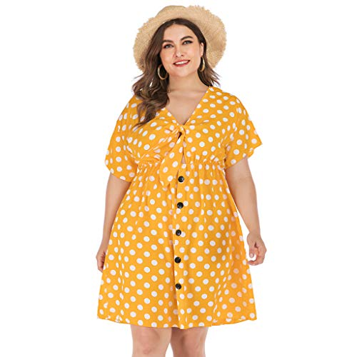 Mikilon Womens Summer Polka Dots Mini Dress Tie Front V Short Sleeve Button Down Short Casual Dress Pluse Size Yellow