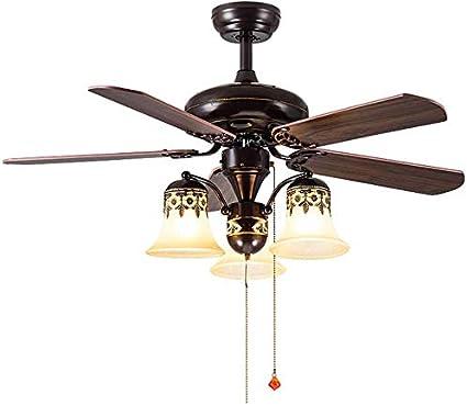 CMXSC American Country retro del restaurante Ventilador de techo ventilador eléctrico de la luz antigua europea de la lámpara de la sala de madera de la hoja del ventilador LED de la lámpara Ventilado