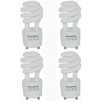 SleekLighting - 13Watt GU24 Base 2 Prong Light Bulbs- 13Watt 120v 60Hz - Mini Twist Lock Spiral -Self Ballasted CFL Two Pin Fluorescent Bulbs- 4200K 700lm -Cool White- 4pack-(60Watt Equivalent)