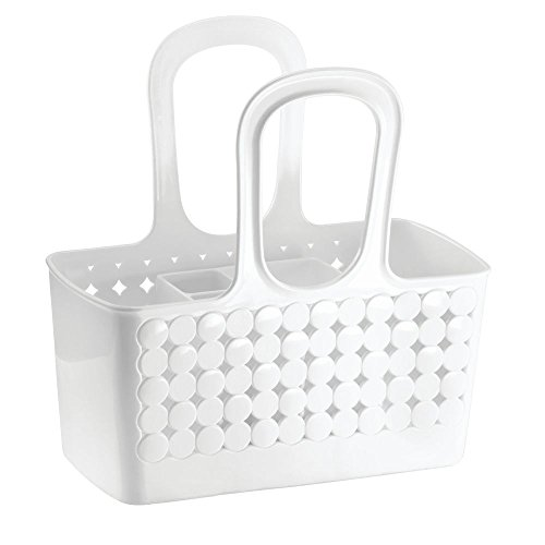 InterDesign Orbz - Shower Tote Holder and Organizer for Shampoo, Cosmetics, Beauty Products - White - Small/Divided: 11.75 x 6 x 12 inches