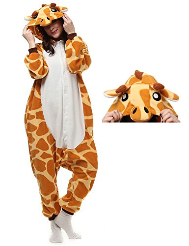 Giraffe Onesie Adult Pajamas Animal Cosplay Costume Kigurumi Halloween Xmas Sleepwear Loungewear for Women Men -