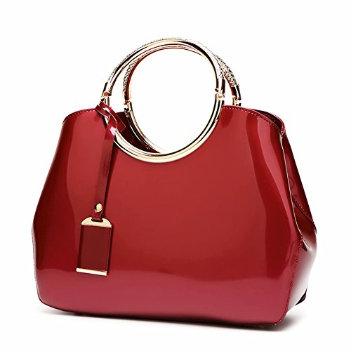 Handbags Patent Leather Satchel Shoulder Bag With Adjustable Shoulder Strap For Women EB04 Burgundy (Satchel Handbag Red)