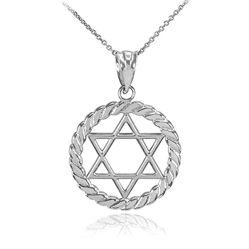 14k White Gold Jewish Star of David in Circle Rope Pendant Necklace, 22