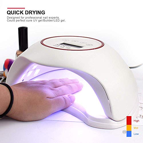 Lucky star ZLY LED UV Nail Dryer,48W LCD Digital Display Phototherapy Machine Intelligent Induction Nail Polish Glue Baking Lamp with Timing Function Detachable Base(White)