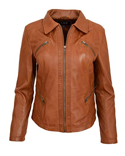 (A1 FASHION GOODS Ladies Soft Tan Leather Jacket Fitted Collared Latest Zip Fasten Biker Style Leah (Small))