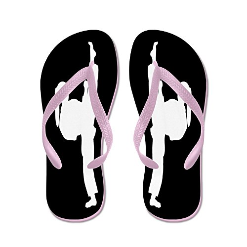 CafePress Karate Girl Black White - Flip Flops, Funny Thong Sandals, Beach Sandals Pink