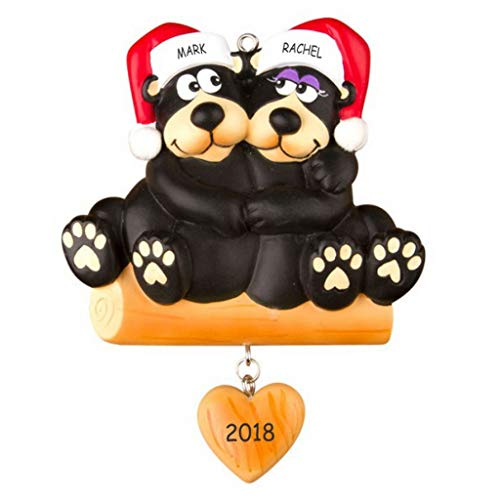 DIBSIES Personalization Station Personalized Huggable Black Bear Couples Christmas Ornament