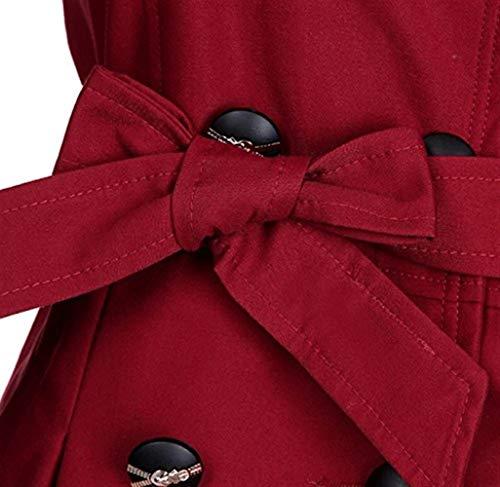 Chic Cintura Ragazza Primaverile bow Classiche Windbreaker Parka Outerwear Double Pizzo Inclusa Breasted Trench Eleganti Tie Fashion Tempo Donna Cappotto Moda Alla Libero Autunno Winered Giuntura Manica Lunga qw4zBP