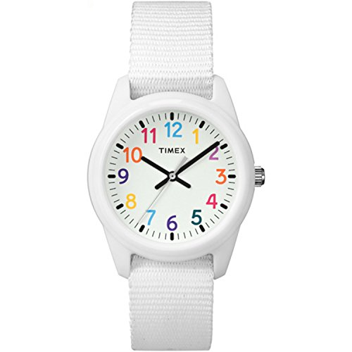 Timex Kids TW7C10300 White Resin Watch with White Nylon Strap