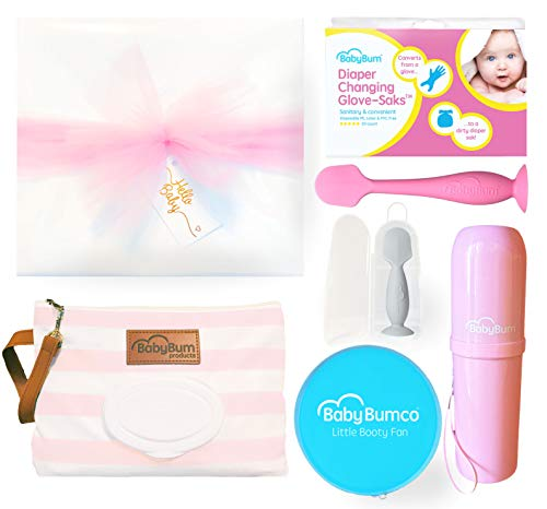 (Girl Baby Bumco Gift Box - Pre-Wrapped & Ready - Diaper Clutch, Diaper Cream Brush, Mini Diaper Cream Brush, Little Booty Fan, and Gloves! (Pink))