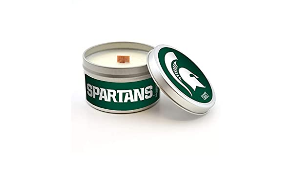 Linen Scent Worthy Promo NCAA Michigan State Spartans Travel Tin Candle with Wood Wick 5.8-Ounce Gray