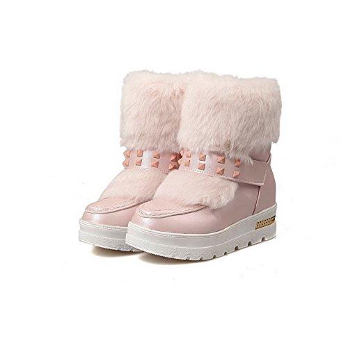 AgooLar Damen Mittler Absatz Blend-Materialien Mitte-Spitze Rein Ziehen auf Stiefel Pink