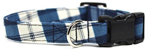 Buffalo Plaid, Blue Gingham Designer Dog Collar, Adjustable Handmade Fabric Collars (S – 3/4)