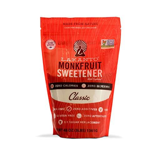 Lakanto Monkfruit 1:1 Sugar Substitute | 3 Ib NON GMO (Classic White) -