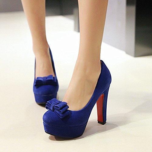 Carolbar Vrouwen Strikken Mode Charme Platform Hoge Hakken Pumps Schoenen Blauw