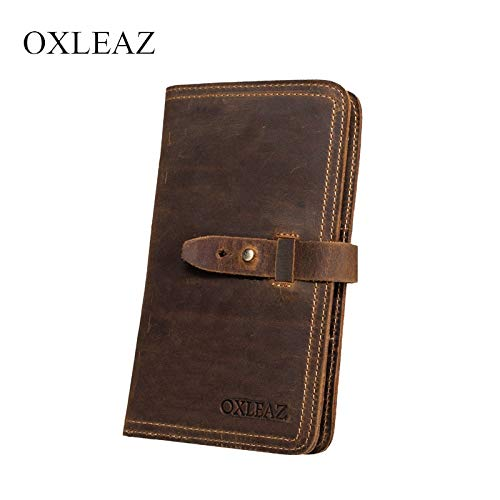 Passport Wallet Crazy Horse Leather Travel Passport Cover Wallet Business Credit Card Holder Long Wallet For Man With Coin Pocket