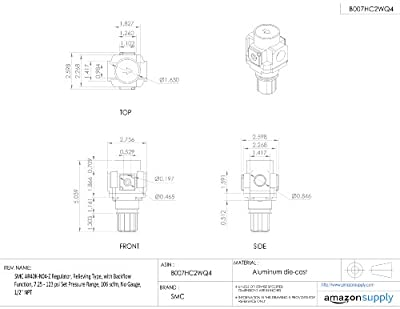 """SMC AR40K-N04-Z Regulator, Relieving Type, with Backflow Function, 7.25 - 123 psi Set Pressure Range, 106 scfm, No Gauge, 1/2"""" NPT"""