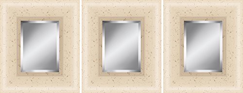 The Ashton Company Cream Framed Beveled Plate Glass Mirrors, 11 by 13-Inch, Set of - Dcor Wall Plate