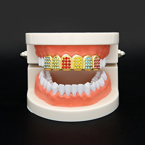 MCSAYS Micro Pave Teeth Grillz Iced-out Teeth Top Upper Hip Hop Colorful Rhinestones 6 Teeth Grillz by MCSAYS (Image #2)
