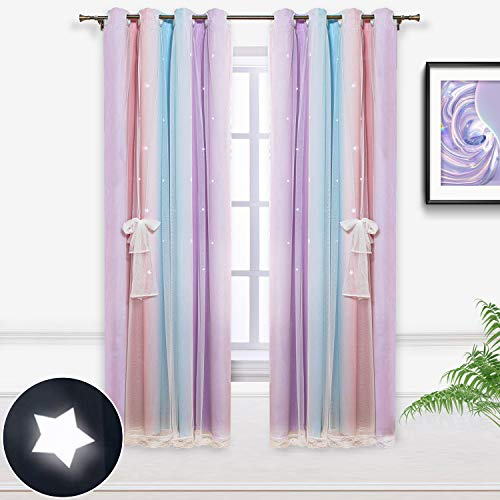 Hughapy Star Curtains Stars Blackout Curtains for Kids Girls Bedroom Living Room Colorful Double Layer Star Cut Out Stripe Window Curtains, 1 Panel (52W x 63L, Pink / Purple)
