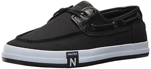 Nautica Deck Shoes - Nautica Men's Spinnaker III Boat Shoe, Black Twill, 10 Medium US