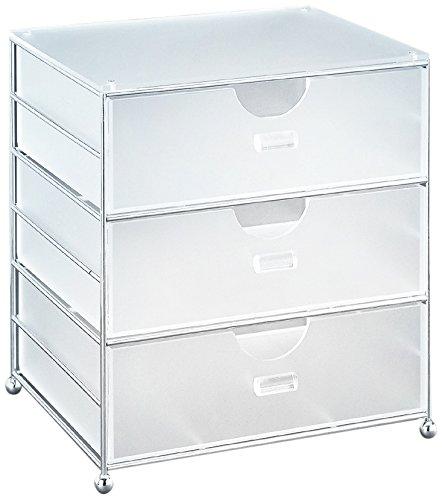 Organize It All 62173W Acrylic 3 Bin Basket, 2 Piece