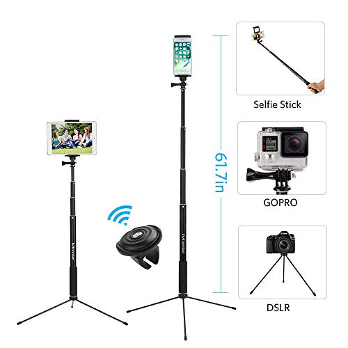 """61"""" Selfie Stick Tripod, Moreslan Bluetooth Selfie Stick with Tripod Stand and Remote, Phone Tripod Extendable Monopod Compatible for iPhone X 8 Plus 7 Plus 6S iPad Samsung Galaxy Phone DSLR Cameras"""