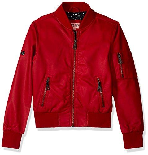 - Urban Republic Big Girls Faux Leather Bomber Jacket, Scarlet Red, 14
