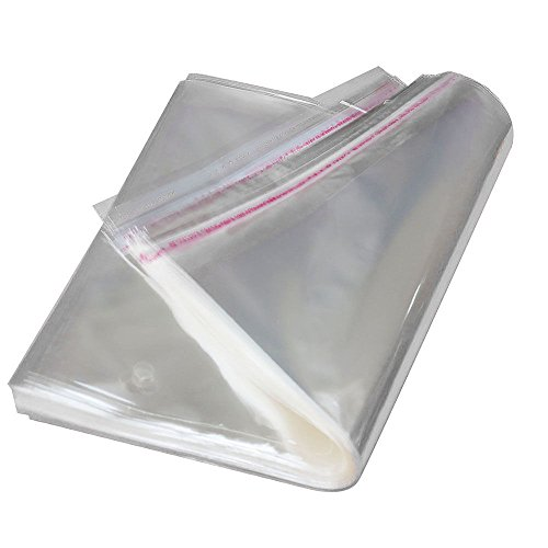 AlphaAcc 1000pcs 9 x 12 Inch Clear Poly Bags Bulk Adhesive Self Seal Flap Easy Peel and Stick Clear Bags 2 Mil, Fit for A4 Paper T-shirts Newspapers