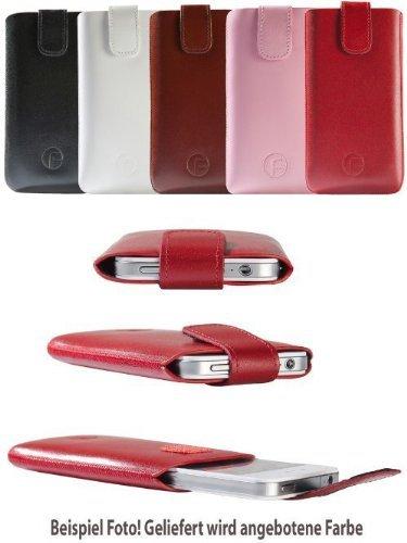 Apple iPhone 5S / Original Favory Etui Tasche Leder Etui Handytasche Ledertasche Schutzhülle Case Hülle Lasche mit Rückzugfunktion* In WEISS