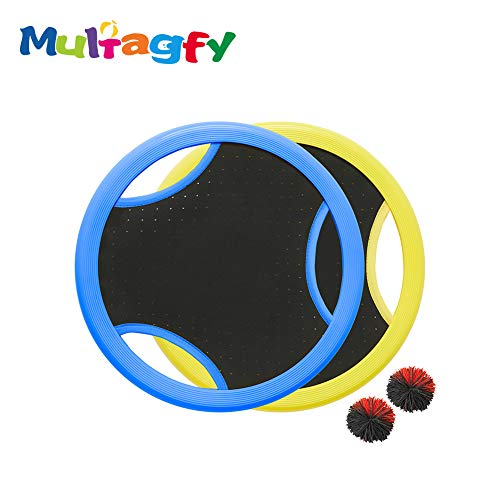 MULTAGFY Trampoline Ball Game Set with 2 Paddles Flying Discs Stringy Ball for Outdoor Family Camping Game Leisure Sports by MULTAGFY