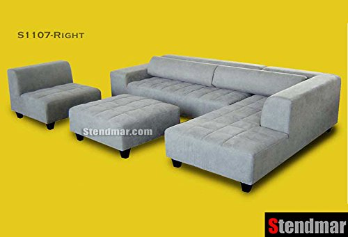Amazon.com: 4pc Modern Grey Microfiber Sectional Sofa Chaise Chair Ottoman  S1107RG: Kitchen U0026 Dining