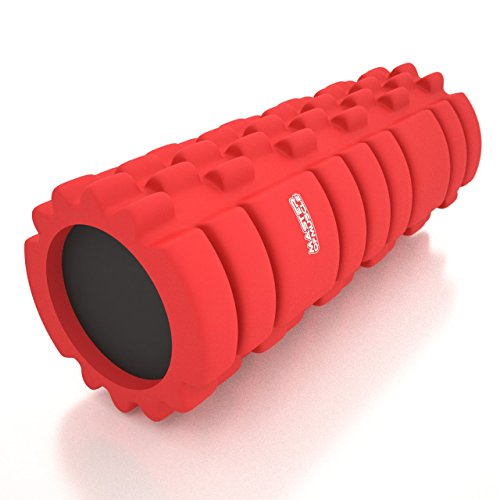 Foam Roller - For Deep Tissue Muscle Massage Therapy - Perfect Back Roller, Muscle Massager and All Over Body Muscle Roller - Bonus Ebook - (RED/13 -inch)