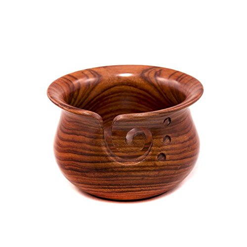 Darn Good Yarn Curvy Handmade Wooden Yarn Bowl, Indian Rosewood, 4 inch x 6 inch by Darn Good Yarn