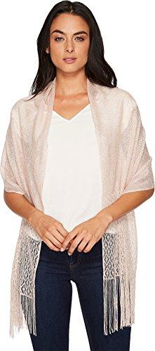 Betsey Johnson Women's Metallic Crochet Wrap w/Fringe Blush One Size