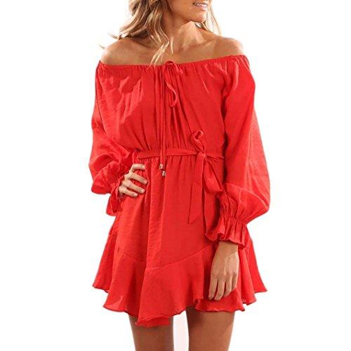 Tefamore Damen Aus Schulter Langarm Mini Casual Party Kleid Rot ...