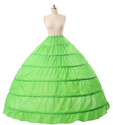 BEAUTELICATE Crinolina para vestido de novia/enaguas con 6aros, longitud hasta el piso(más colores) Verde