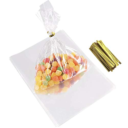 Lavish 200 Bags 6''x 4'' Clear Cello/Cellophane Bags Extra Thick cellophane Bags Treat Bags with Twist Ties Ideal for Bakery Candy Cookie Pretzels Popcorn Dessert Flat Cellophane Bags]()