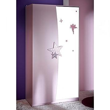 Kleiderschrank Sternchen lila weiß 2 Türen Schrank Drehtürenschrank ...