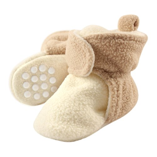 Luvable Friends Baby Cozy Fleece Booties with Non Skid Bottom, Cream/Tan, 0-6 Months