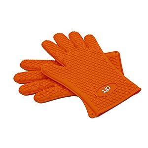 "BBQ Grill Gloves Heat Resistant - Silicone Cooking Grilling Smoking Baking Barbecue Tools - Oven Mitts Potholder Gloves - 10.6"" Long"